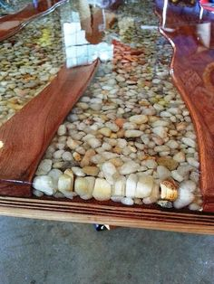 River bend table, 06/17/14. cherry wood, hemlock, river stones, epoxy: