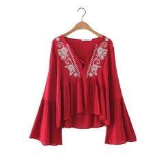 Women vintage floral embroidery V-neck blouses blusas sexy flare sleeve shirts Femininas ladies casual brand tops