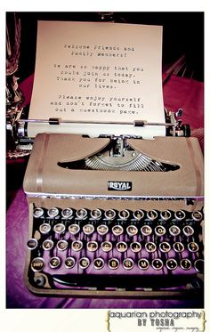 Guests type messages and pages can be made into a book vintage wedding ideas, vintage wedding decor, typewriter ideas, typewriter, steampunk wedding decor, bride, groom, wedding favors