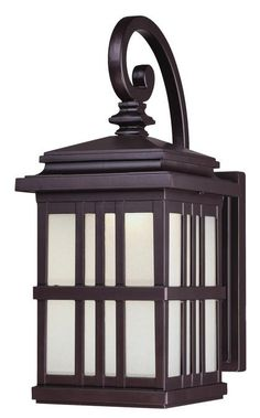LED Outdoor Wall Lantern Oil Rubbed Bronze Finish On Cast Aluminum With Frosted Glass