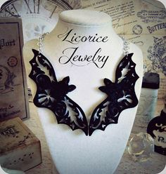 Conjoined BAT Collar Necklace Filigree Fancy Black Felt