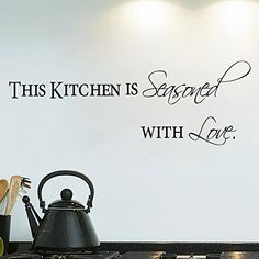 Witkey 51385 Inch This Kitchen Is Seasoned With Love Dining Room Home Decor Decals Wall Sticker