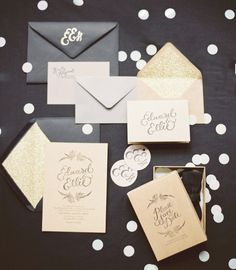 Jenna I am loving the glitz & glam of this simple invitation - The Blushing Bride: 2013 Wedding Trend - 1920's Glam - You guys can customize to your colours of Navy Blue and Yellow...