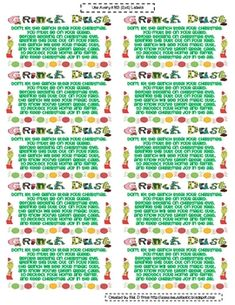 Grinch Dust Labels (FREE) Put 2 tbsp of glitter in ziploc bag and place this label on it