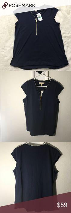 MICHAEL KORS CAP SLEEVE TOP NWT 💞 Navy Blue Cap sleeve top with gold tone adjustable zipper. NWT  No trades, Make me a offer Michael Kors Tops Blouses