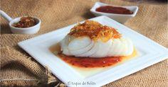 Bacalao a la plancha con mermelada de tomate y cebolla caramelizada