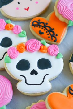 dia de los muertos decorated cookies decorating tutorial - Halloween Cookies Decorating Ideas