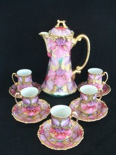 Image detail for -Nouveau Chocolate Pot with 5 Cups & Saucers Heavy Gilding c1922 (Japan ...