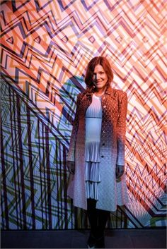 Margherita Maccapani Missoni Amos at Missoni showroom in via Solferino while attending the party for Carnovsky Zigzagging Installation, realized for Milan Design Week