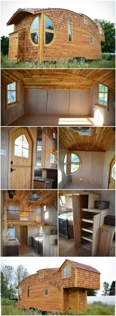 Off-Grid 333sf Tiny House Looks Like It Leapt Off the Pages of a Storybook! - The Moon Dragon is a unique tiny house built by Zyl Vardos, a small living specialist out of Olympia, Washington. This home may have one of the most interesting exteriors that we've even seen! The home has a curved roof-line and jutted windows that almost give the home an animal effect which we're guessing is the cause for its name!