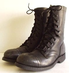 Mens Vintage Black Leather Combat Grunge Steel Toe Cap Toe Punk Boots size 7