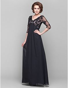 527a8f385593 A-Line V Neck Floor Length Chiffon / Sheer Lace Mother of the Bride Dress  with Beading / Lace / Side Draping by LAN TING BRIDE® / Illusion Sleeve /  See ...