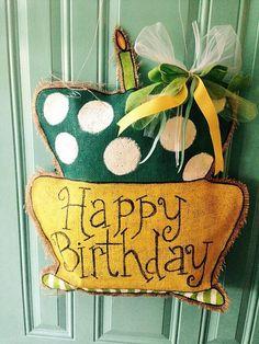 Birthday Day Cake Burlap Door Hanger