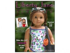 Free American Girl Doll Clothes Pattern Swimsuit Liberty Jane   Liberty Jane Doll Clothes Patterns For American Girl Dolls