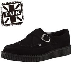 Tuk Black Suede Creeper Shoe With Buckles Retro Rockabilly Creepers $5 Ship