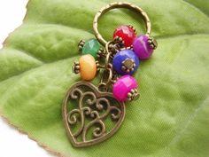 Heart charm coloured bead key ring