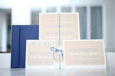 your beautiful days: Faire-part Letterpress Kraft blanc et bleu