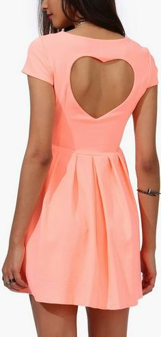 Neon Coral Heart Cutout Dress ♡ very cute color as well