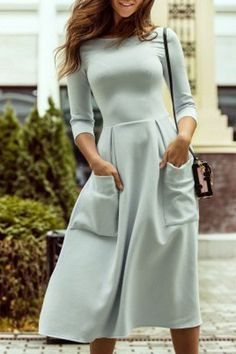 Bateau Collar 3/4 Sleeve Big Pocket Dress