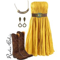 """Pure Country"" by rodeo-chic on Polyvore, Old Gringo cowboy boots, @oldgringoboots; Horn necklace, House of Harlow @hoh1960; Earrings, Angel Court; Mustard Strapless Dress; Western, country, concert outfit"