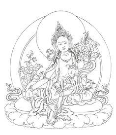 """Green Tara is """"She who saves"""", and her foot is down below her moon seat to indicate her readiness to swiftly spring to action. In some origin stories, Green Tara is born from Avalokiteshvara's tears, which flow from his compassion on seeing the suffering of living beings. She vows tobecome buddha in female form."""