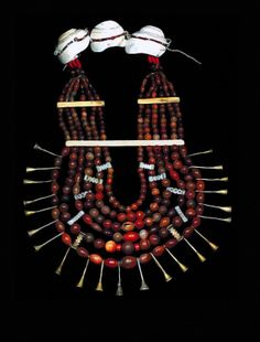 India | Necklace from the Ao people of Nagaland | Carnelian, bone, brass, shell and fiber | POR