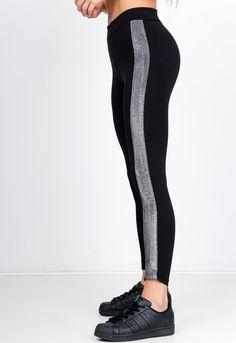 Čierne bavlnené legíny s trblietavým pruhom - ROUZIT.SK Sweatpants, Fashion, Moda, Fashion Styles, Fashion Illustrations