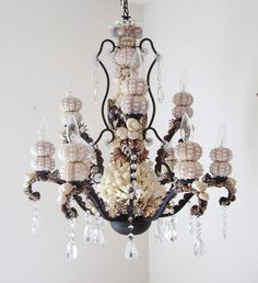 Chandelier Seashells Sea Urchins and Coral Beach Furniture, Sea Urchin Chandelier, Indie Craft, Beach House Decor, Seashell Chandelier, Shell Chandelier, Chandelier, Outdoor Lighting Design, Outdoor Light Fixtures