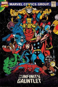 The avengers - marvel comics poster / print (comic cover: the infinity gauntlet) (iron man, thor, captain america, spider-man. Avengers Comics, Thanos Avengers, Avengers Poster, The Avengers, Poster Marvel, Superhero Poster, Dc Comics, Marvel Art, Marvel Heroes