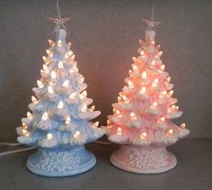 Pink or Blue stained Ceramic  Christmas Tree  by SueSueSueCrafts, $52.00 Each