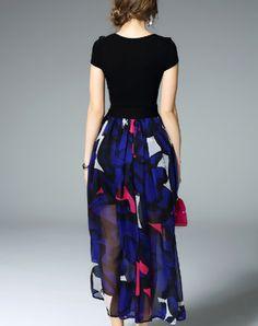 Cap Sleeve Printed Swing Maxi Beach Dress