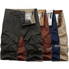 Más el tamaño 32-44 para hombre pantalones cortos de carga de múltiples ocasional del bolsillo de pantalones cortos de algodón sueltos