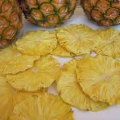 Pineapple Candy Chips: Seriously tastes like an awesomely flavorful, chewy, full-of-sugar candy. I am so excited to have discovered these treasures.   Pineapple is a super sweet fruit and dehydrating concentrates the sugars, so it would be really easy to eat too many.  They are an excellent substitute for candy, but if candy is your weakness, these will be too, fair warning.
