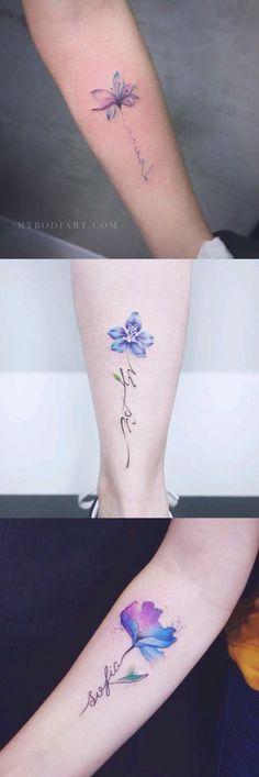 Delicate Watercolor Purple Blue Forearm Tattoo Ideas for Women - acuarela azul p. Mini Tattoos, Trendy Tattoos, Foot Tattoos, Forearm Tattoos, Cute Tattoos, Beautiful Tattoos, New Tattoos, Body Art Tattoos, Tattoos For Guys