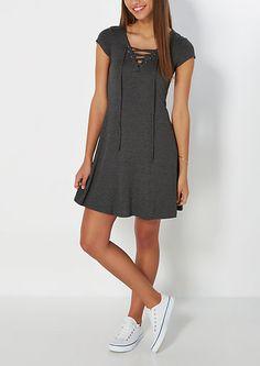 Charcoal Lace-Up Swing Dress | rue21
