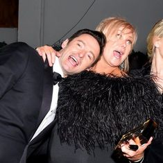 It's time to party! Hugh Jackman and wife Deborra-lee Furness looked like they were having a great time after the show at the FOX, FX and Hulu bash. #HughJackman