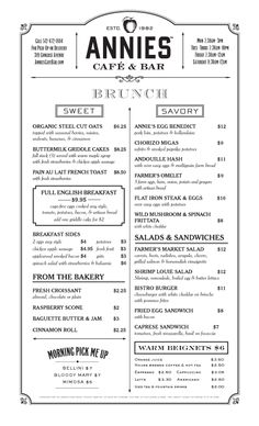Art of the Menu: Annie's Café & Bar