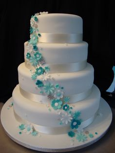 """LOVE THIS!! I WANT IT! - With pink and teal and purple flowers, but classic clean lines on a white """"wedding"""" cake"""