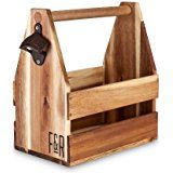 Amazon.com: Wooden Caddy Tote for Six Pack Beer and Sodas with Bottle Opener by Trademark Innovations: Industrial & Scientific