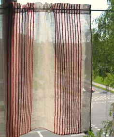 Curtain Lace Curtains Cafe Curtains Red Natural Gray Striped Washed Linen Curtains Kitchen Curtains Shabby Chic Curtains Panels by Initasworks on Etsy https://www.etsy.com/listing/255803383/curtain-lace-curtains-cafe-curtains-red