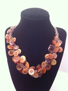 Button Necklace Vintage Coffee Brown by ConstantlyUnfolding, $15.50