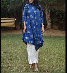 Draped Chanderi silk kurti with embellishment with butis