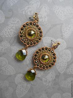 Серьги E14002 - оливковый,серьги,золотые серьги,золотые сережки,Кристаллы swarovski