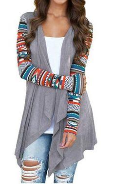 Aztec Print Long Cardigan Loose Sweater Jacket