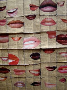 Read my Lips.....hand-sewn paper 'quilt' of French/English dictionary pages and images of lips from fashion magazines