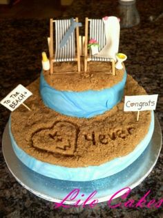 Beach wedding cake, also would be cute shower cake Fancy Cakes, Cute Cakes, Beautiful Cakes, Amazing Cakes, Honeymoon Shower, Pin It, Beach Cakes, Creative Cakes, Shower Cakes