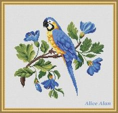 Parrot in blue flowers Counted Cross Stitch Pattern by HallStitch