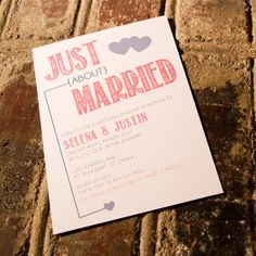 Just About Married Bridal Shower Invitation by YesMaamCreative, $18.00 In love with this one!
