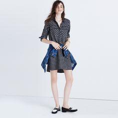 "A supersoft plaid shirtdress with a leg-flaunting, longer-in-back hem. Basically, a timeless boyshirt style in dress form. <ul><li>Nonwaisted.</li><li>Falls 35 3/4"" from highest point of bodice.</li><li>Cotton.</li><li>Machine wash.</li><li>Import.</li></ul>"