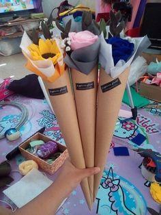 Cone felt bouquet, felt, flanel, buket flanel, felt bouquet
